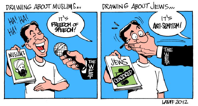 Datei:Carlos Latuff - Charlie Hebdo - Islamophobia-Antisemitism.png