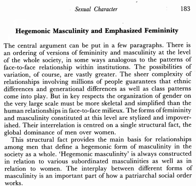 racism, sexuality, hegemonic masculinity etc.(what ever you want the title to be) If you are struggling with these concepts, or simply do not believe them and think they are all a bunch of crap, then i suggest you read the work of kimmel (in the 90′s and 2000′s), particularly a piece called masculinity as homophobia.