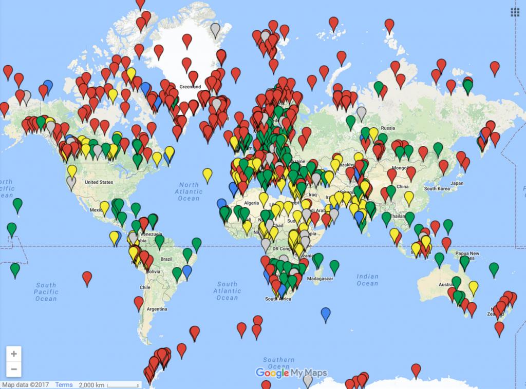 Abbildung: Globale Übersicht von Fallstudien zur Mittelalterlichen Klimaanomalie.