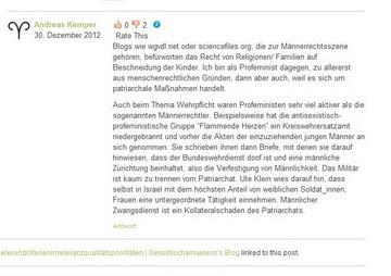 """Kemper als de:Sympathisant und geistiger Wegbereiter des linken Terrorismus: """"Profeministen sehr viel aktiver als die so genannten Männerrechtler. Beispielsweise hat die antisexistisch-profeministische Gruppe 'Flammende Herzen' ein Kreiswehrersatzamt niedergebrannt.""""[37][38]"""