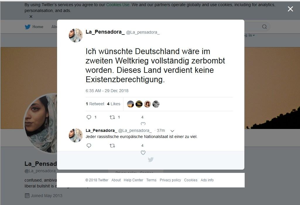 Miene Waziri - Tweet - Bomben - Keine Existenzberechtigung fuer Deutschland.jpg
