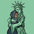 Lady Liberty embraces and comforts headscarf girl.png