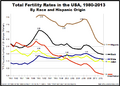 Total Fertility Rates by Race in the USA - 1980-2013.png
